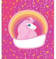 card with a cute unicorn vector image