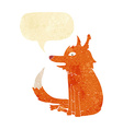 cartoon fox sitting with speech bubble vector image vector image