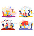 celebrating people compositions set vector image vector image