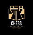 chess championship logo design emblem with tower vector image