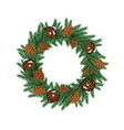 christmas wreath with green fir branch and cones vector image vector image