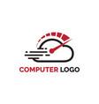 cloud computer digital logo design with speed vector image vector image