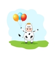 cute cow with balloons vector image