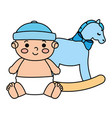 cute little baby boy with wooden horse toy vector image vector image
