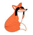 cute little fox hand drawn cartoon character vector image vector image