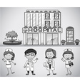 Doctors and nurses working at the hospital vector image vector image