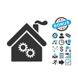 Factory Building Flat Icon with Bonus vector image vector image