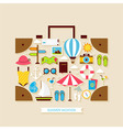 Flat Vacation Travel Summer Holiday Objects Set vector image vector image