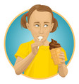 girl eating ice-cream vector image vector image