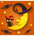 Halloween background with moon in the orange sky vector image vector image