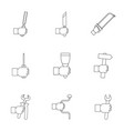 hand tool icon set outline style vector image