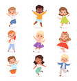 happy children cute playing kids in action poses vector image vector image