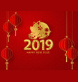 happy chinese new year 2019 banner card pig gold vector image vector image
