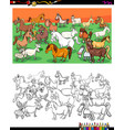 horses and goats characters group color book vector image vector image