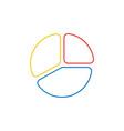 icon concept of three parts diagram color outlines vector image