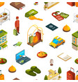 isometric hotel icons pattern or background vector image