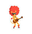 lion playing the guitar cute musician animal vector image vector image