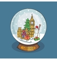 London Christmas Snow globeDoodle landmark vector image vector image