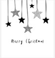 merry christmas greeting card with hanging stars vector image