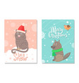 merry christmas let it snow 70s theme postcard vector image vector image