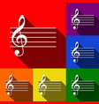 music violin clef sign g-clef set of vector image vector image