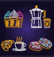 neon ice cream donuts coffee and croissant retro vector image