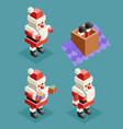 new year christmas isometric santa claus lowpoly vector image