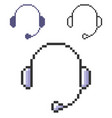 pixel icon headphones in three variants fully vector image