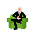 psychologist in chair writes consultation of vector image vector image