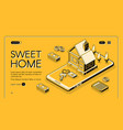 real estate home online buy halftone line vector image