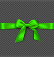 realistic bright green bow and ribbon vector image