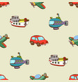 seamless pattern with ship car and plane vector image vector image