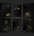 set cards 2020 happy new year gold texture golden vector image
