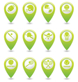 Set of 12 sport GREEN map pointer vector image vector image