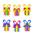 set of colorful gift boxes vector image vector image