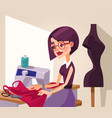 smiling woman designer character sews clothes vector image vector image