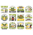 soy milk and organic soybean vegan products vector image vector image