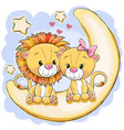 two cute lions is sitting on the moon vector image vector image