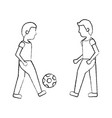 two man playing with ball football vector image vector image