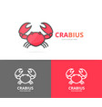 unique seafood and crab logo design template vector image vector image