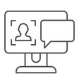 user on computer monitor thin line icon vector image