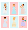 wedding brides characters card vector image