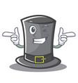 wink thanksgiving hat character cartoon vector image