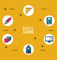 yellow background poster of back to school with vector image vector image