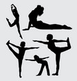 yoga sport female action silhouette vector image