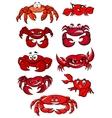 Set of red cartoon marine crabs vector image