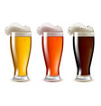 realistic detailed glasses of beer set with foam vector image