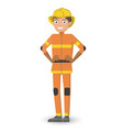 man in the uniform of a fireman the happy smiling vector image
