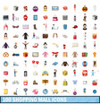 100 shopping mall icons set cartoon style vector image vector image