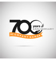 700 years anniversary logo with ribbon and hand vector image vector image